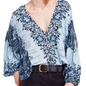 Free People XS Birds of a Feather Peasant Blouse